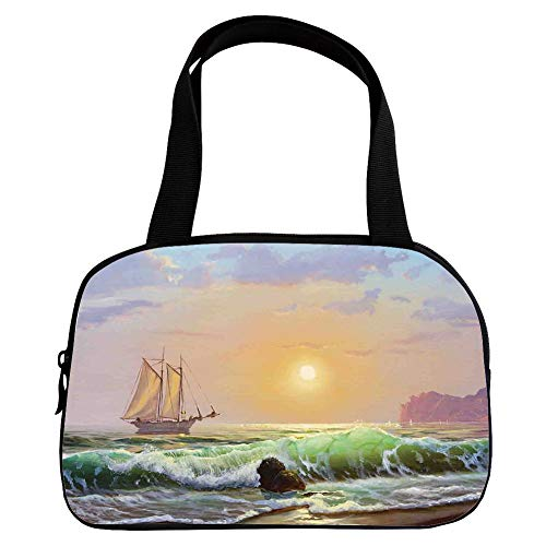 iPrint Vogue Small Handbag Pink,Marine,Sailboat on The Sea Sunset and Forceful Waves Rocky Shore View Artwork,Light Blue Green Peach,for Girls,Diversified Design.6.3