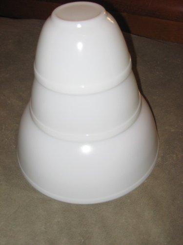 SET OF 3 - RARE Vintage 1954 Pyrex Opal White Mixing Batter Nesting Bowls - 4 Quart, 1 1/2 Quart & 1 1/2 Pint