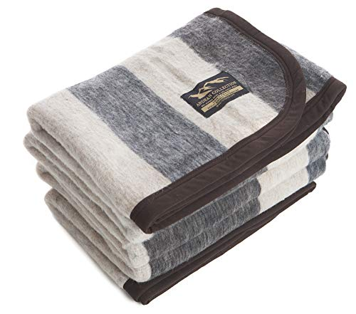 Desert Breeze Distributing Alpaca and Sheep Wool Blanket, Soft and Thick, Twin Size, 84 x 63 inches, Earth Tones with Tan Stripes, Andean Collection, Made in Peru