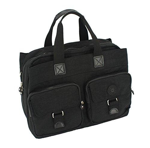 IHONEY4U Laptop Messenger Bag Mommy Tote Bag Nylon Waterproof Men Shoulder Bag Multiple Pockets (black)