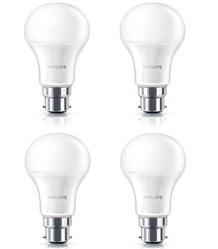 PHILIPS 7W B22 LED Warm White Bulb, Pack of 4, (PHILIPSB22_7WW_4)