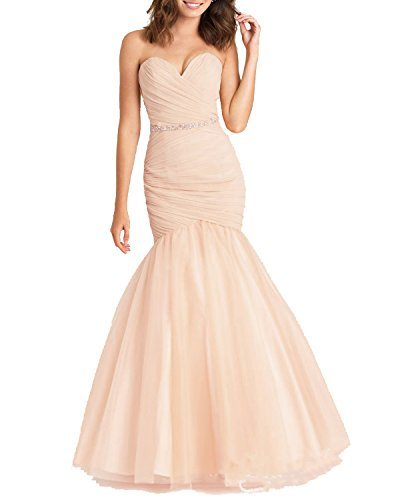 Lily Wedding Womens Sweetheart Tulle Mermaid Prom Dresses 2018 Long Formal Evening Ball Gowns With Beaded Belt FWD00103 Size 10 Color 53 (Sweetheart Dress Ruched)