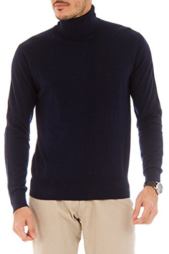 Wool Roll Neck Sweater (Cashmere Company DOLCE VITA MA Navy Blue Cashmere Blend Roll Neck Sweater,EU=52/L)