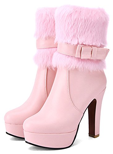 Zipper Trendy Chunky Toe Platform Boots Women's Fur Side Heel Pink Ankle Pointed Fluffy High Easemax 5qf80Axwn
