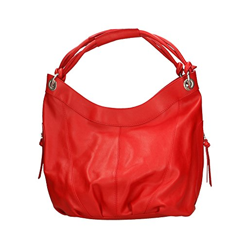 Aren Sac à bandoulière femme en cuir véritable Made in Italy - 42x34x16 Cm Rouge