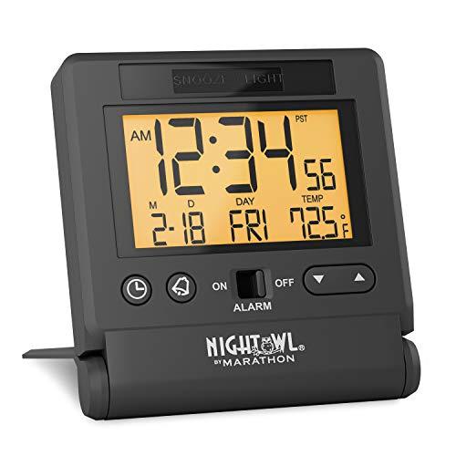 Marathon CL030036BK Atomic Travel Alarm Clock with Auto Night Light Feature, Batteries Included (Black)