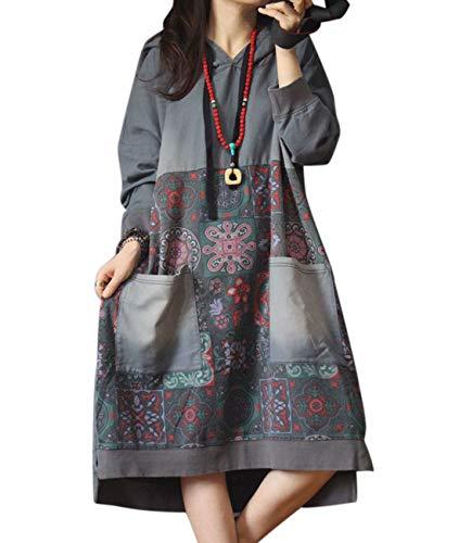 - YESNO JCJ Women Casual Loose Ethnic Floral Hoodies Sweatshirts Jackets Long Sleeve/Pockets