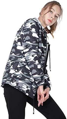 JTANIB Womens Rain Jacket camouflage Windbreaker Waterproof Lightweight Packable Hooded S-XXL