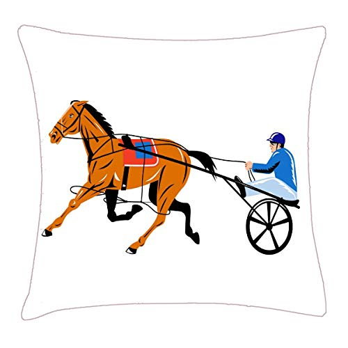 HFYZT Harness cart Horse Racing Sulkies Throw Pillow Cover 18x18 Inch Two Sides Design Printed Pillowcase -