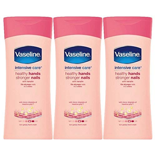 Vaseline Healthy Hand and Stronger Nails Hand Cream, 6.76 Ounce (200 Millilitres) Pack of 3, Imported from UK by Vaseline