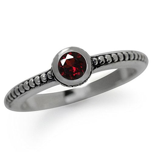 Natural Garnet 925 Sterling Silver Stack/Stackable Bali/Balinese Style Ring Size 4.5