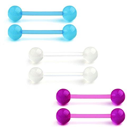 (JFORYOU 14G 16mm Glow In The Dark Flexible Acrylic Straight Tongue Nipple Ring Retainer Piercing Blue White Purple)