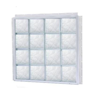 TAFCO WINDOWS NailUp 64 in. x 48 in. x 3-3/4 in. Ice Pattern Solid Glass Block New Construction Window with Vinyl Frame by Tafco Corp.