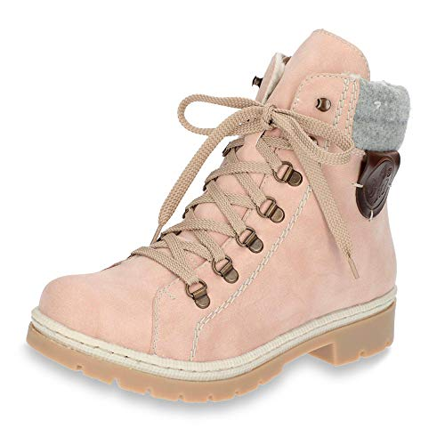 Rieker Lace Women's Pink up Boots Y9430 zCqnrqdE8