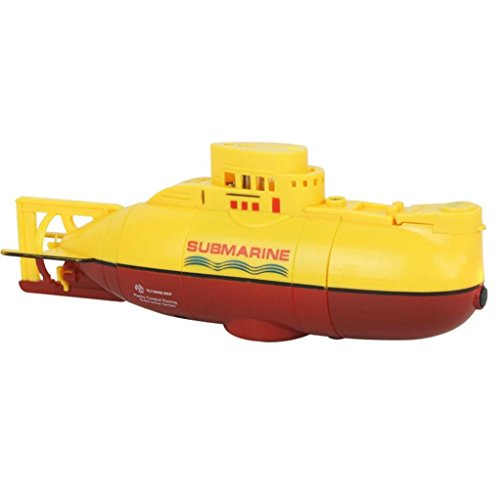 Aurorax RC Mini Underwater Submersible Remote Control Boat 2.4GHz 4 Channel Toy Gift for Kid (yellow)