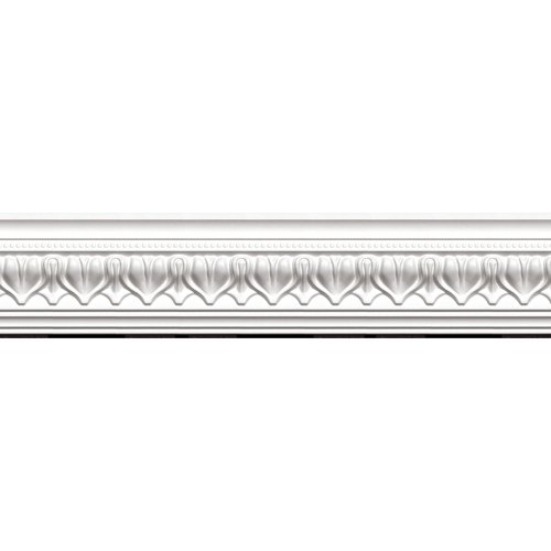 - Focal Point 23125 Acropolis Crown Moulding 4 1/8-Inch by 8 Foot, Primed White, 8-Pack