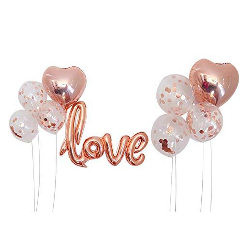 Autupy 9 PCS Rose Gold Confetti Balloon Set Including 12