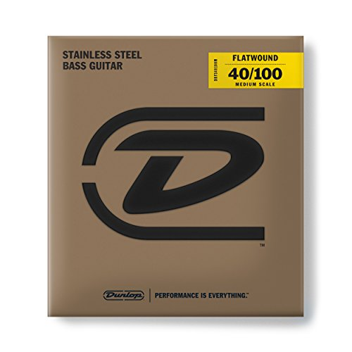 (Dunlop Flatwound Medium Scale 40/100 Light 4/SET Bass Guitar Strings (DBFS40100M))