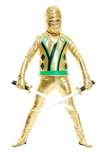 Charades Child Golden Ninja Series III Costume Jumpsuit, Gold, Small