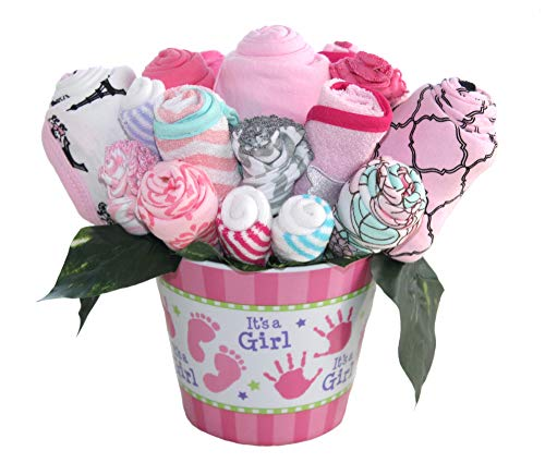 Baby bouquet made with baby clothes and accessories/Baby shower gift/Practical newborn gift for parents to be/New baby gift idea (Girls - Pink) ()