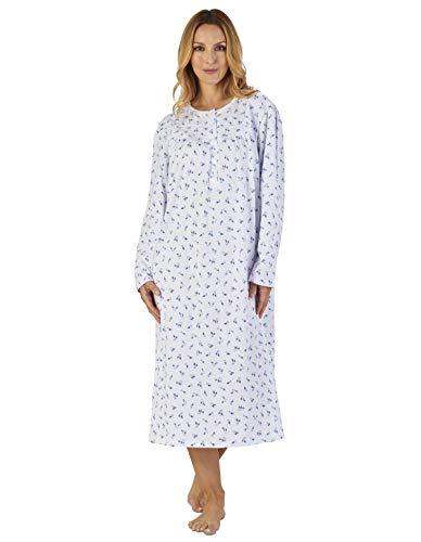 Spotted Nightdress Women's Slenderella ND2101 Gown Floral Night Jersey Loungewear Blue B7axF
