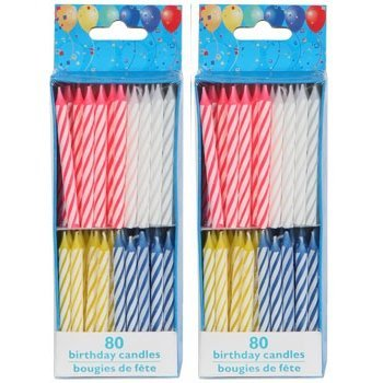 160 Birthday Candles 80 Count Spiral Brights X 2 Boxes Total By Dollar Tree Amazoncouk Kitchen Home