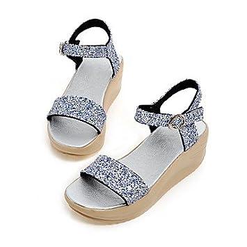 Purpurina Tacón Cuña Zapatos De Mujer Cuñascomfort Ym Sandalias 8Okwn0PX