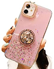 Cfrau for iPhone SE 2020/iPhone 7/8 Glitter Clear Case with Black Stylus,Cute Diamond Sparkle Anti-Scratch Crystal Shockproof Soft Rubber Silicone TPU Back Cover with Ring Stand,Pink