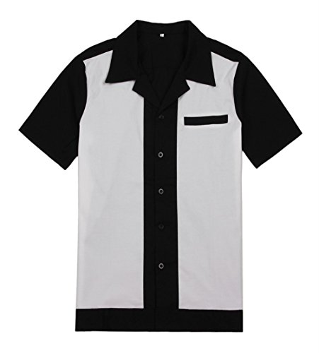 Anchor MSJ Men's 50s Male Clothing Rockabilly Style Casual Cotton Blouse Mens Fifties Bowling Dress Shirts (L, White) -