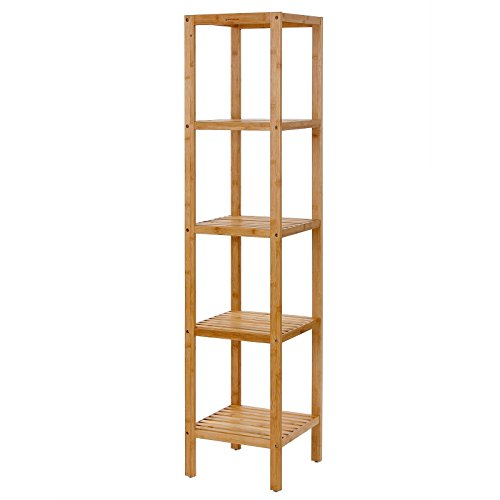 SONGMICS 100% 5-Tier Bamboo Bathroom Shelf, Narrow Shelving Unit, Multifunctional Storage Rack, Wood Corner Rack, for Kitchen, Livingroom, Bedroom, Hallway Natural UBCB55Y (Wood Storage Unit)