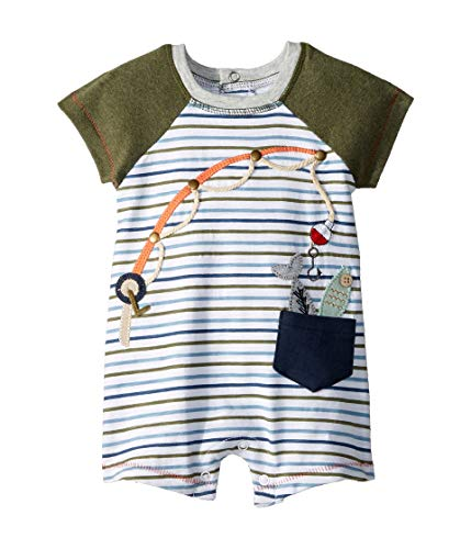 Mud Pie Baby Boy's Gone Fishing Shortall (Infant) Green 6-9 Months