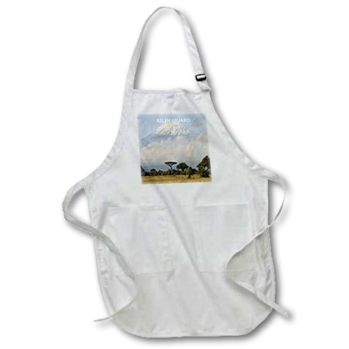22 by 30-Inch 3dRose apr/_80784/_1 Africas Mount Kilimanjaro-Full Length Apron with Pockets White