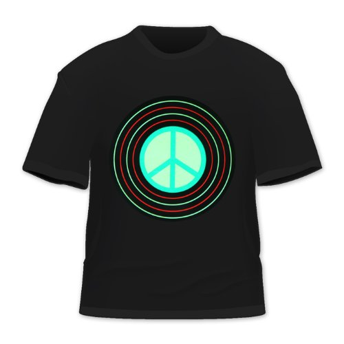 Led Sound Activated El T-shirt - HDE Men's Sound-Activated LED T-Shirt (Peace Record, XX-Large)