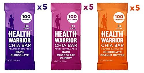HEALTH WARRIOR Chia Bars, Chocolate Variety Pack, Gluten Free, 25g bars, 15 Count