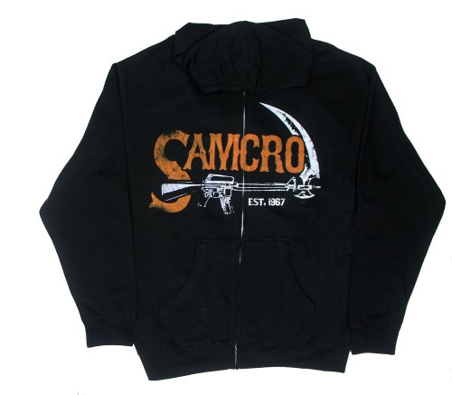 Anarchy Hooded Sweatshirt - SAMCRO Authentic - Sons Of Anarchy Hooded Sweatshirt: Adult Large - Black