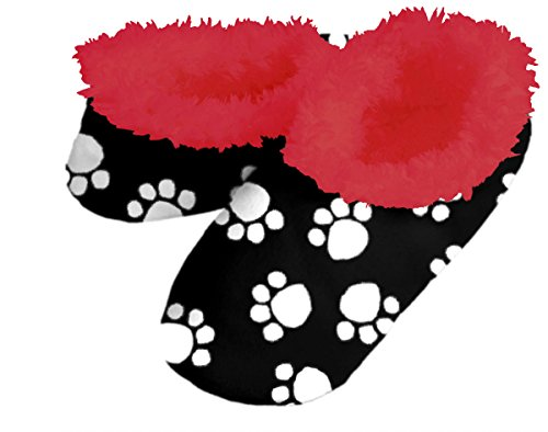Snoozies! Dog Paws Black With Red Lining Women's Sherpa Footcoverings - Large