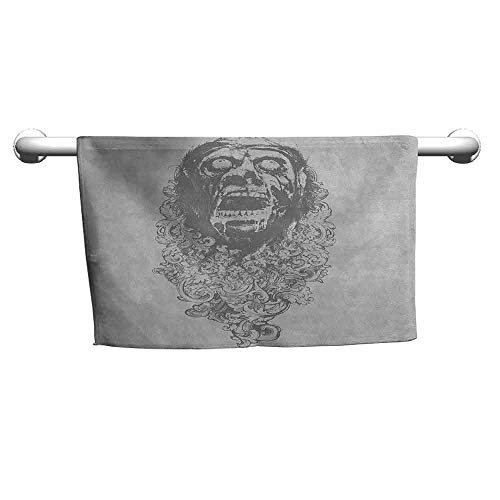 zojihouse Zombie Towel Retro Gothic Sketch of a Scary Man with Grunge Effects Monster Evil Hand Drawn Print W12xL28 Dust Grey