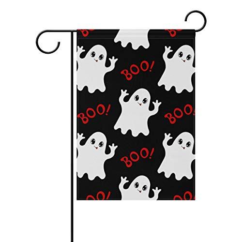 senya Halloween Cute Ghost Fabric Garden Flags Banner for Indoor & Outdoor Decoration Party 12