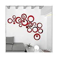 Alrens_DIY (TM) 22 piezas Redondas Puntos Círculos Superficie del espejo Pegatinas de pared de cristal Acrílico 3D Calcomanías caseras para el hogar Decoración de papel de pared Adesivo de parede-4 colores (rojo)
