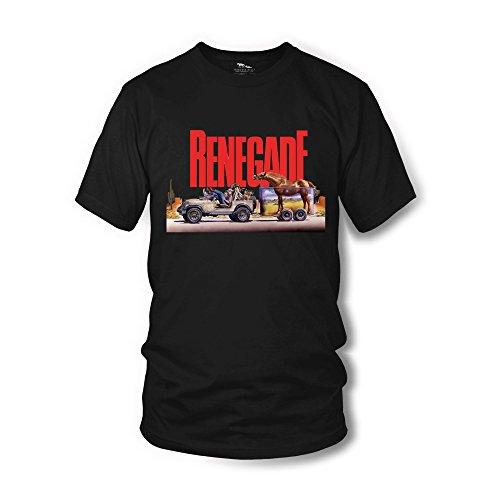 Terence Hill T-Shirt - Renegade Jeep (schwarz) Renato Casaro Edition