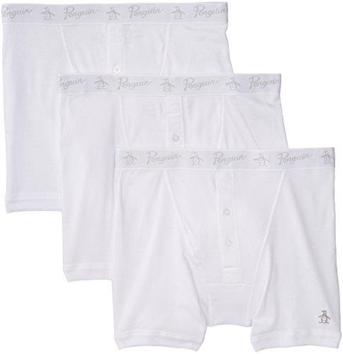 Original Penguin Men's 3 Pack Button Boxer Briefs, White, (White Button Fly Boxer)