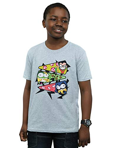 Teen de Go Pizza deportiva Camiseta Titans Slice Dc Comics Grey Boy ITZwAg