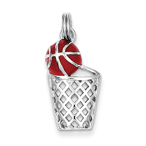 Sterling Silver Enamel Basketball and Hoop Charm (Basketballs Sterling Bracelet Silver)