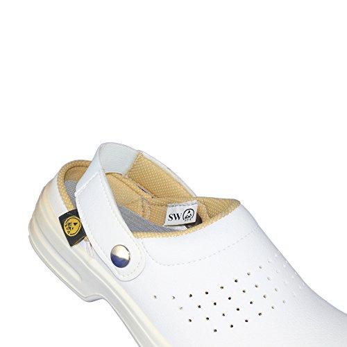 Safe Way Sandale SBEA Sicherheitsschuhe Arbeitsschuhe Trekkingschuhe Sandale Weiß B-Ware Weiß