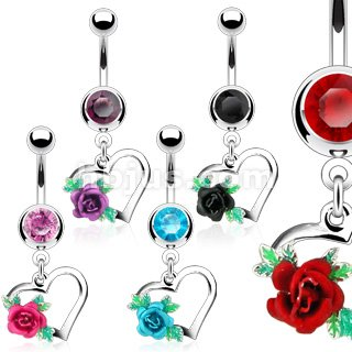 Flower Choose Color (SBJ-0040 Stainless Steel Navel Ring With Gem, Heart, Flower; Choose One Color (Black))