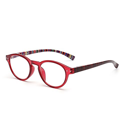 Reading Glasses Spring Hinges - Anti Blue Light Retro Spring Hinge Round Computer Reading Glasses Gaming Readers Reduce Eye Fatigue +2.75 Red