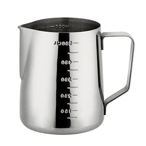 Milk Frothing Pitcher,JoyFork Professional Milk Frothing Pitchers, Stainless Steel Pouring Jug, Milk Frother Cup With Measurement Scales, Milk Pitcher for Tea, Coffee and Latte Art 12OZ/350ml Review