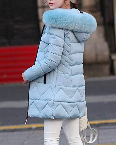 Cappuccio Outdoor Lunghe Donna in Piumino Pelliccia Tempo Sottile Lunga Cappotto Caldo Himmelblau Libero Elegante BIRAN Transizione Piumini con Maniche Grazioso Invernale Trapuntato Parka dY0TxP4wq