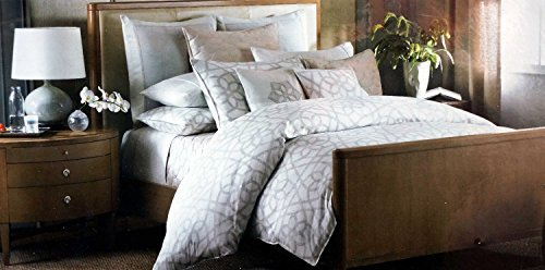 Barbara Barry Sanctuary Scroll Duvet Cover Patina Gray & Beige on Cream - Full / Queen