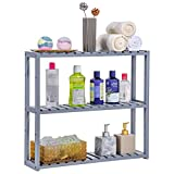 SONGMICS Wall Mounted 3-Tier Utility Storage Shelf Rack Bamboo Wood Adjustable layer Bathroom Towel Shelf Multifunctional Kitchen Living Room Holder Grey UBCB13GY